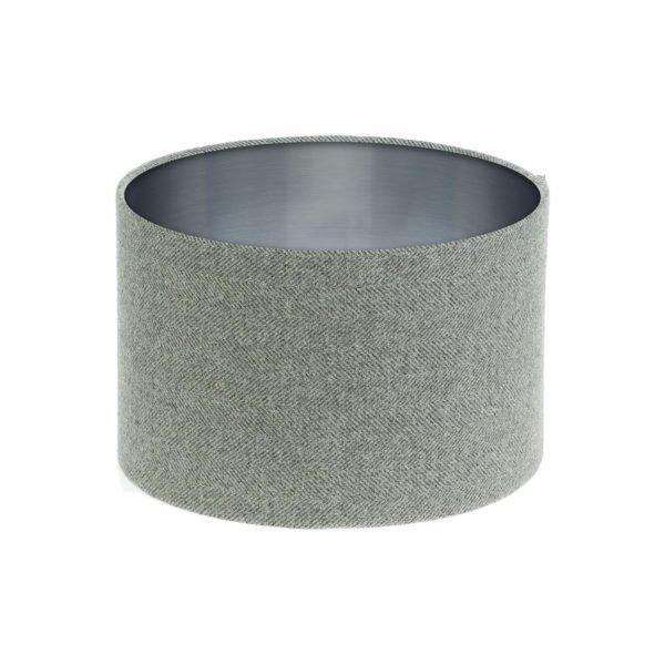 Light Grey Herringbone Tweed Drum Lampshade Brushed Silver Inner