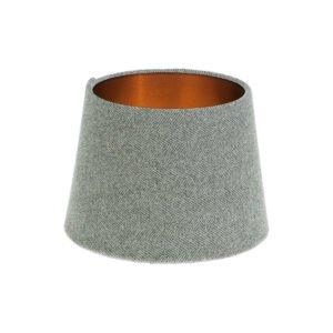 Light Grey Herringbone Tweed French Drum Lampshade Brushed Copper Inner
