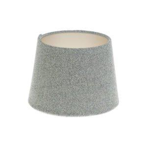 Light Grey Herringbone Tweed French Drum Lampshade Champagne Inner