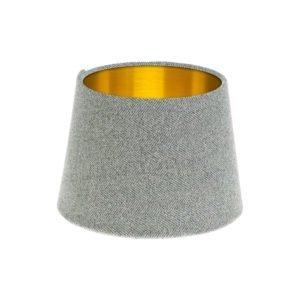 Light Grey Herringbone Tweed French Drum Lampshade Brushed Gold Inner