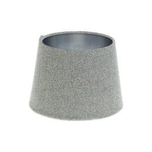 Light Grey Herringbone Tweed French Drum Lampshade Brushed Silver Inner
