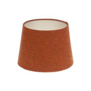 Rust Herringbone Tweed French Drum Lampshade Champagne Inner