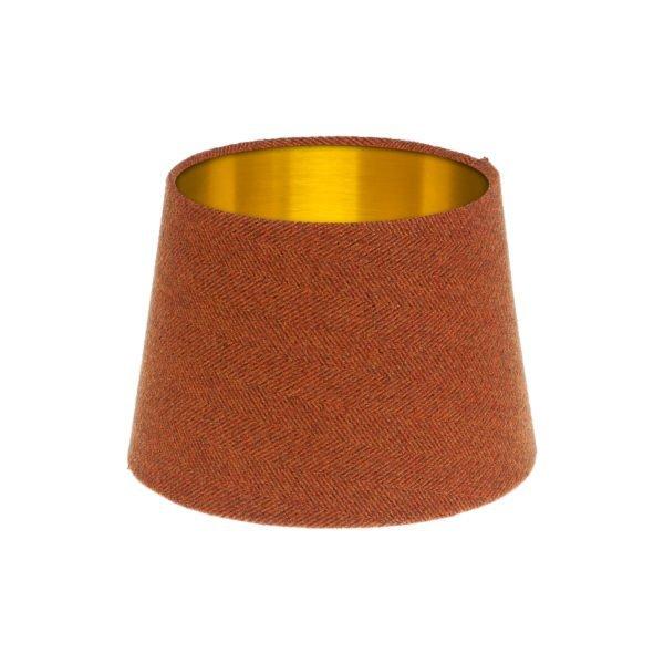 Rust Herringbone Tweed French Drum Lampshade Brushed Gold Inner