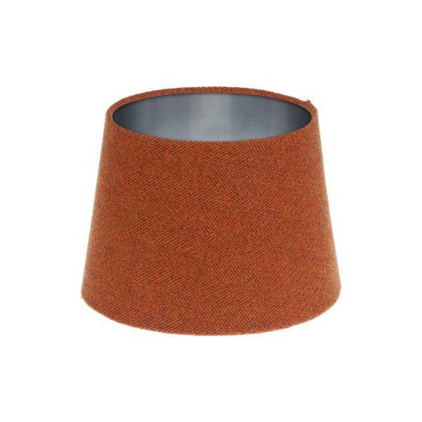 Rust Herringbone Tweed French Drum Lampshade Brushed Silver Inner
