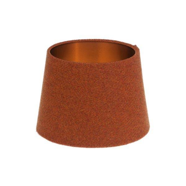 Rust Herringbone Tweed French Drum Lampshade Brushed Copper Inner