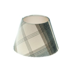 Balmoral Charcoal Tartan Empire Lampshade Champagne Inner