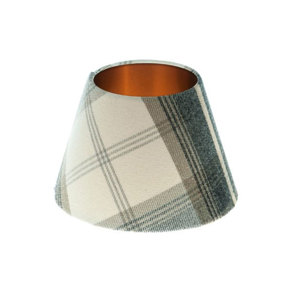 Balmoral Charcoal Tartan Empire Lampshade Brushed Copper Inner