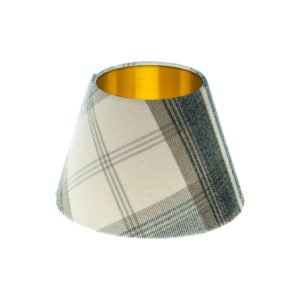 Balmoral Charcoal Tartan Empire Lampshade Brushed Gold Inner