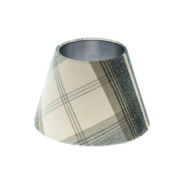 Balmoral Charcoal Tartan Empire Lampshade Brushed Silver Inner