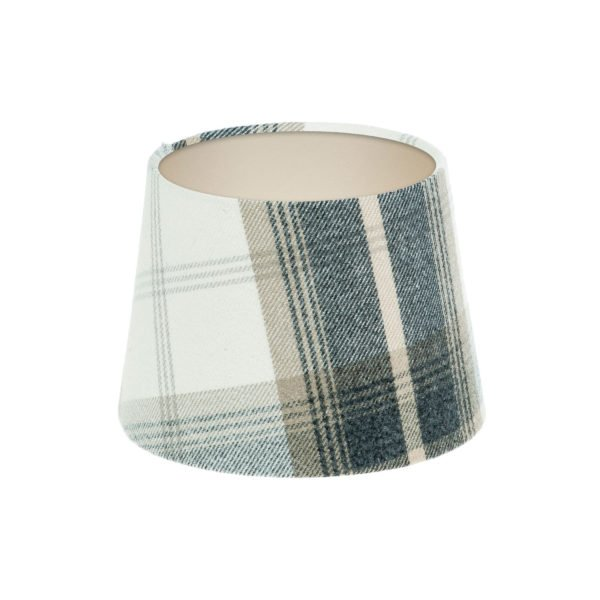 Balmoral Charcoal Tartan French Drum Lampshade Champagne Inner