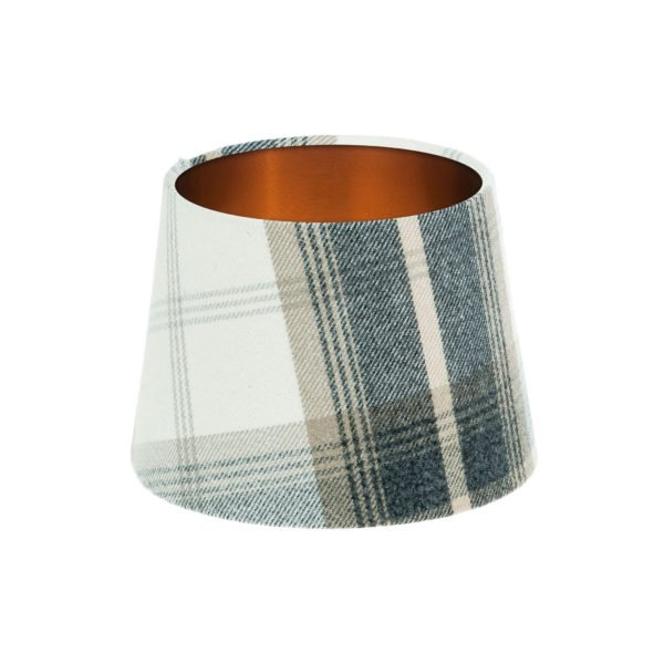 Balmoral Charcoal Tartan French Drum Lampshade Brushed Copper Inner