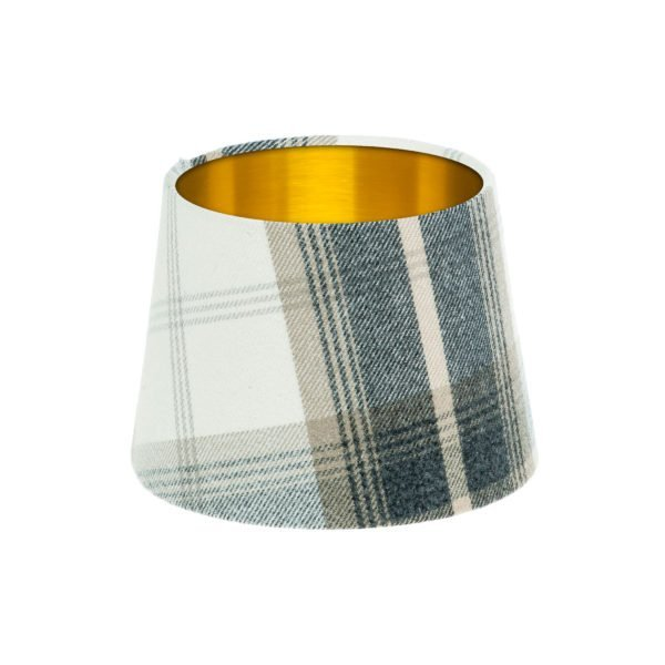 Balmoral Charcoal Tartan French Drum Lampshade Brushed Gold Inner