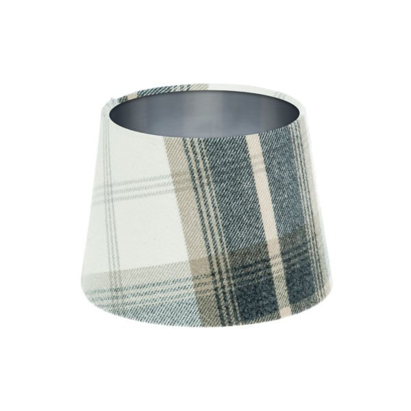 Balmoral Charcoal Tartan French Drum Lampshade Brushed Silver Inner