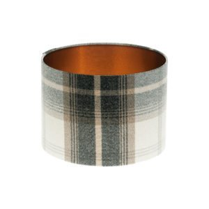 Balmoral Charcoal Tartan Drum Lampshade Brushed Copper Inner