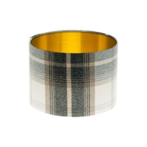 Balmoral Charcoal Tartan Drum Lampshade Brushed Gold Inner