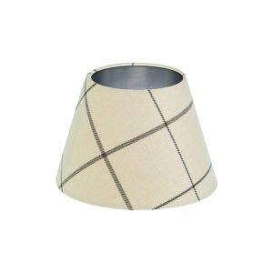 Winsford Cream Tartan Empire Lampshade Brushed Silver Inner