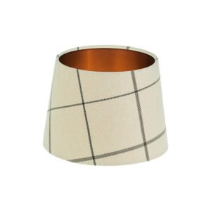 Winsford Cream Tartan French Drum Lampshade Brushed Copper Inner
