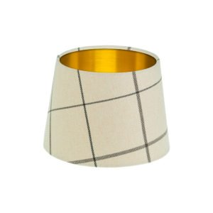 Winsford Cream Tartan French Drum Lampshade Brushed Gold Inner