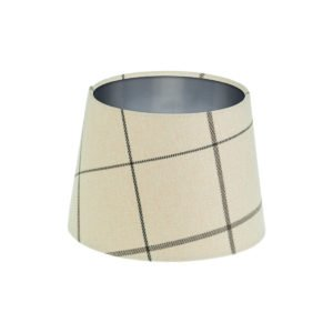 Winsford Cream Tartan French Drum Lampshade Brushed Silver Inner