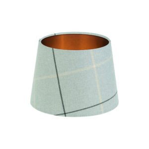 Winsford Grey Tartan French Drum Lampshade Brushed Copper Inner