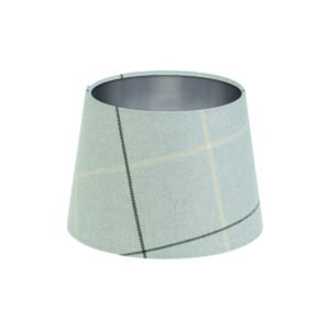 Winsford Grey Tartan French Drum Lampshade Brushed Silver Inner