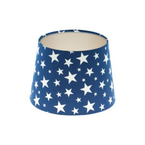 Navy Blue Stars French Drum Lampshade Champagne Inner