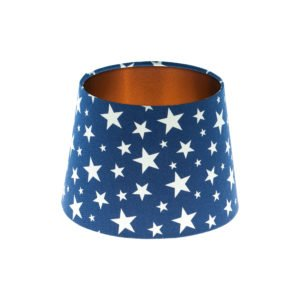 Navy Blue Stars French Drum Lampshade Brushed Copper Inner