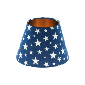 Navy Blue Stars Empire Lampshade Brushed Copper Inner