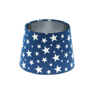 Navy Blue Stars French Drum Lampshade Brushed Silver Inner