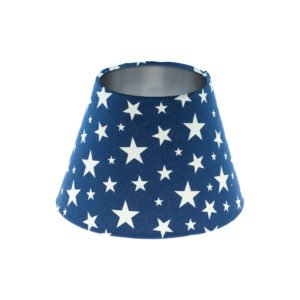 Navy Blue Stars Empire Lampshade Brushed Silver Inner