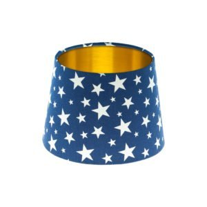 Navy Blue Stars French Drum Lampshade Brushed Gold Inner