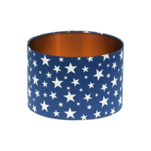 Navy Blue Stars Drum Lampshade Brushed Copper Inner