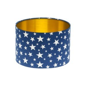 Navy Blue Stars Drum Lampshade Brushed Gold Inner