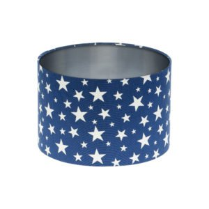 Navy Blue Stars Drum Lampshade Brushed Silver Inner