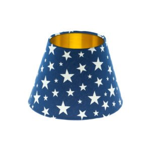 Navy Blue Stars Empire Lampshade Brushed Gold Inner