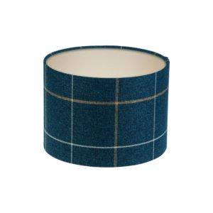 Winsford Navy Blue Tartan Drum Lampshade Champagne Inner