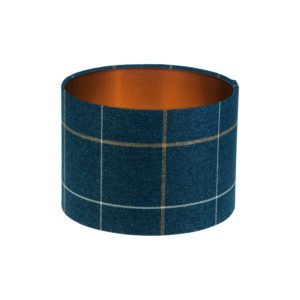Winsford Navy Blue Tartan Drum Lampshade Brushed Copper Inner