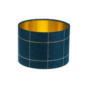 Winsford Navy Blue Tartan Drum Lampshade Brushed Gold Inner