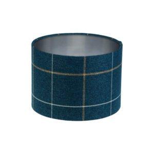 Winsford Navy Blue Tartan Drum Lampshade Brushed Silver Inner