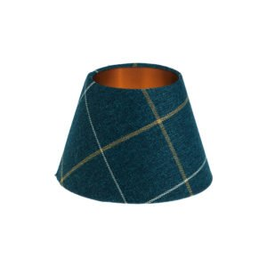 Winsford Navy Blue Tartan Empire Lampshade Brushed Copper Inner