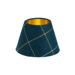 Winsford Navy Blue Tartan Empire Lampshade Brushed gold Inner