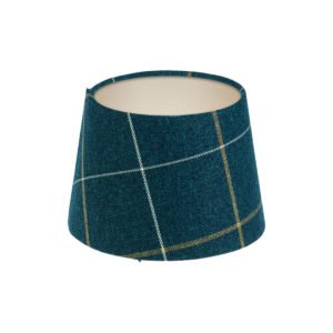 Winsford Navy Blue Tartan French Drum Lampshade Champagne Inner