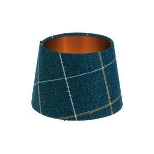 Winsford Navy Blue Tartan French Drum Lampshade Brushed Copper Inner