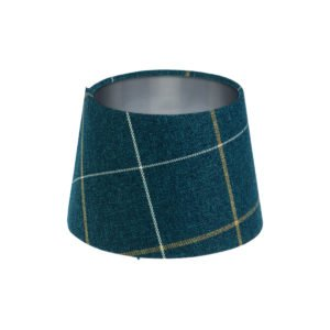 Winsford Navy Blue Tartan French Drum Lampshade Brushed Silver Inner