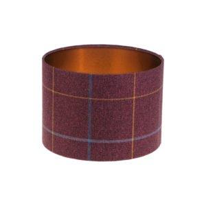 Winsford Plum Tartan Drum Lampshade Brushed Copper Inner