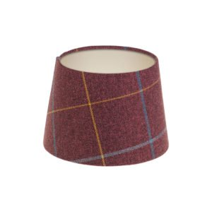 Winsford Plum Tartan French Drum Lampshade Champagne Inner