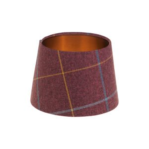 Winsford Plum Tartan French Drum Lampshade Brushed Copper Inner