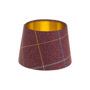 Winsford Plum Tartan French Drum Lampshade Brushed Gold Inner