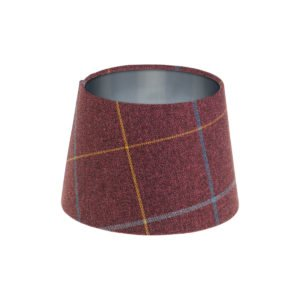 Winsford Plum Tartan French Drum Lampshade Brushed Silver Inner