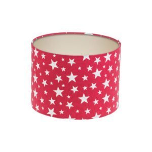 Red Stars Drum Lampshade Champagne Inner